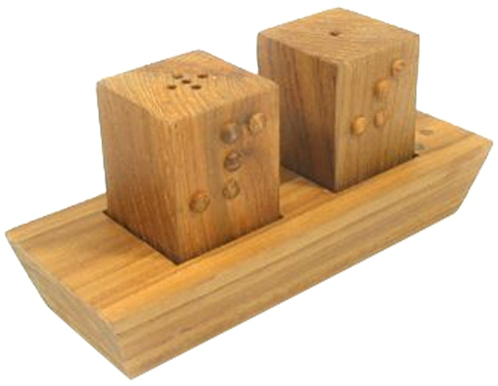 Picture picture of our Braille Salt and Pepper Set