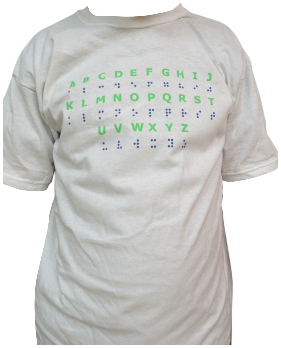 Larger picture of our Braille Alphabet T-Shirt, Youth